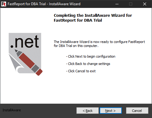 FastReport for DBA installation. Sixth step.
