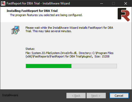 FastReport for DBA installation. Seventh step.