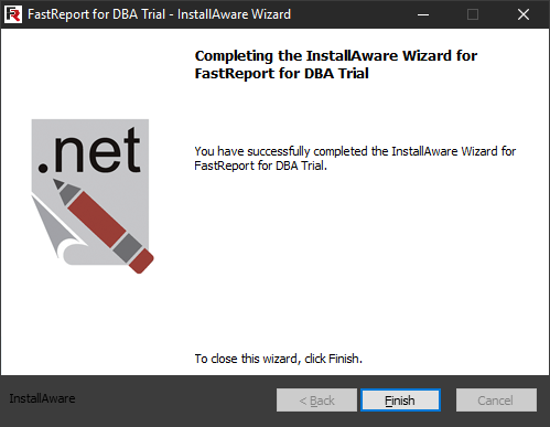 FastReport for DBA installation. Eighth step.