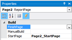 Create event StartPage for the Report page